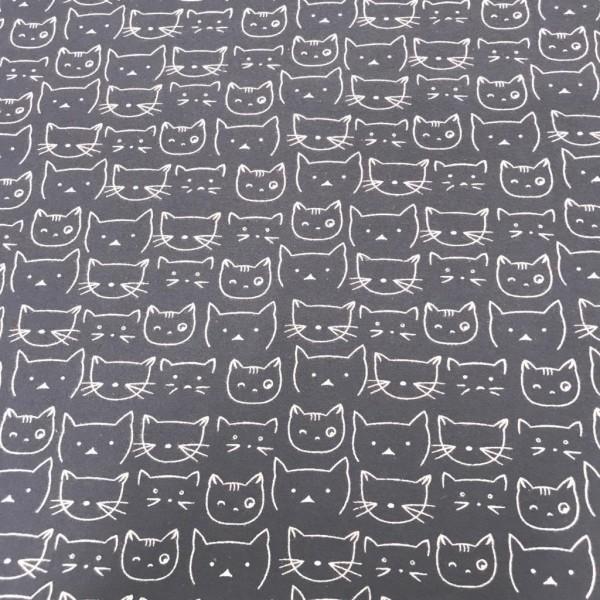 Flanell Katzen dunkelgrau